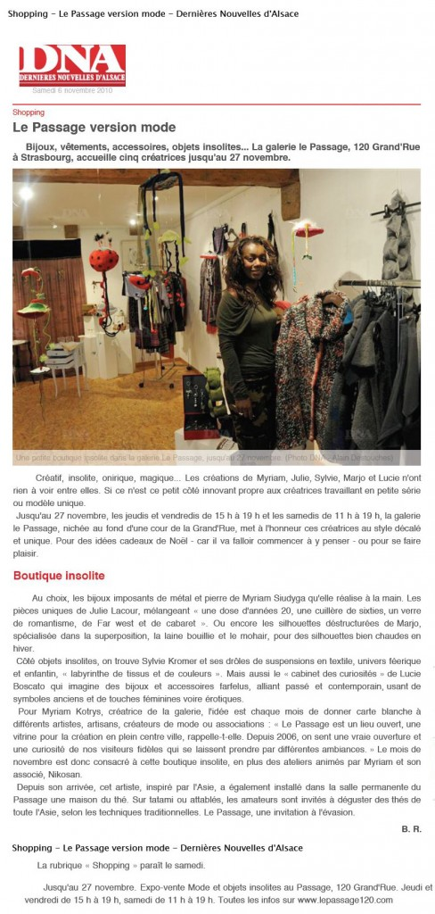 Article Presse DNA Siudyga Myriam MS Bijoux